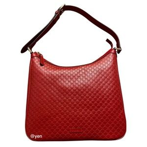 Gucci large Guccissima Hobo red shoulder bag